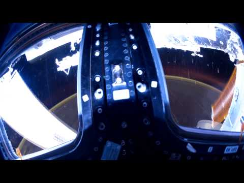 Star trails filmed inside the Cupola on the International Space Station