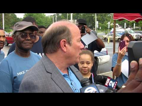 Mike Duggan speaks with media after voting (8/6/2013)