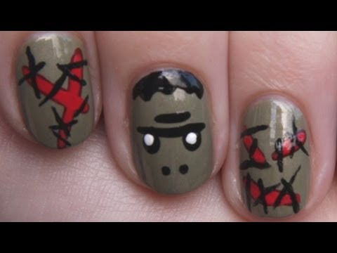 Frankenstein Nail Art With Bloody Stitches -- Halloween Nail Design for Short Nails