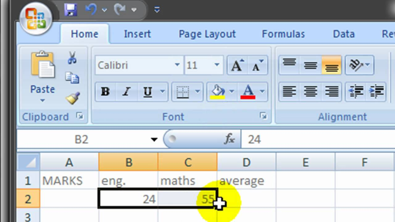 how to find mean in excel 2007