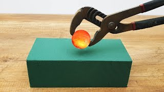 EXPERIMENT Glowing 1000 Degree METAL BALL vs Floral Foam