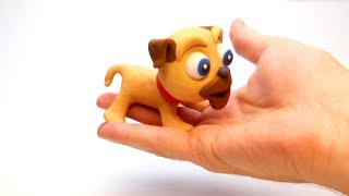 Doguie in a hand 💕 Superhero Play Doh Stop motion cartoons