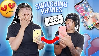 I Swapped PHONES With My GIRLFRIEND For 24 HOURS! *Bad Idea*