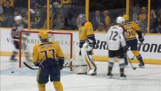 Rinne has puck skip on him and Avalanche take lead