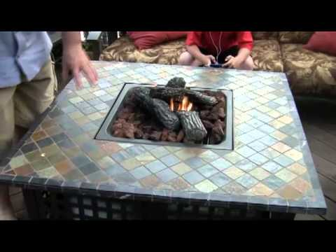 Uniflame Lp Gas Fire Pit With Slate Table Youtube