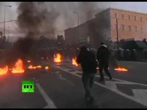Video: Athens on fire as mass protest turns violent