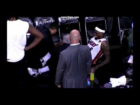 LeBron James In Pain Screaming OH SHIT With Cramp - Game 4 - NBA FINALS 2012