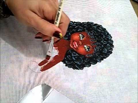 Pintura em tecido - Boneca Marli - Como pintar boneca negra 2/2 - how to paint b