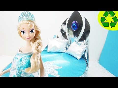 Manualidades para muñecas: Haz una cama para la muñeca Elsa de la película Frozen [SALUDOS]