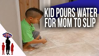 Mom Slips & Falls After Out Of Control 5Yr Old Pours Water On Floor | Supernanny USA