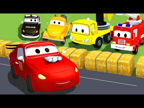 Racing Car, Tom the Tow Truck and Car Patrol fire truck and police car | Cars & Trucks cartoon