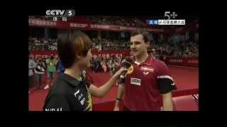 Timo Boll vs Liu Guoliang (and Ding Ning speaking English)