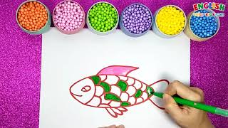 How To Draw F Uppercse And A Fish   English Color Kids