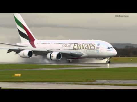 Emirates Airbus A380 and wet runway.