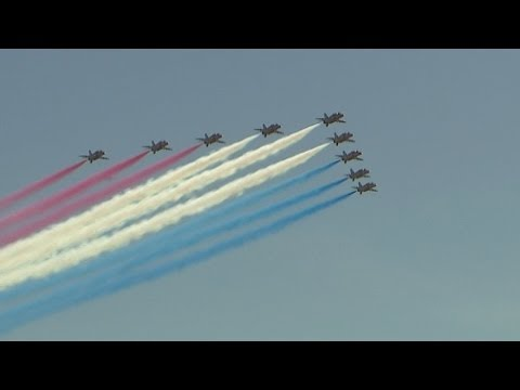 Red Arrows display 2014: Stunning, colourful aerial display to mark D-Day commemorations