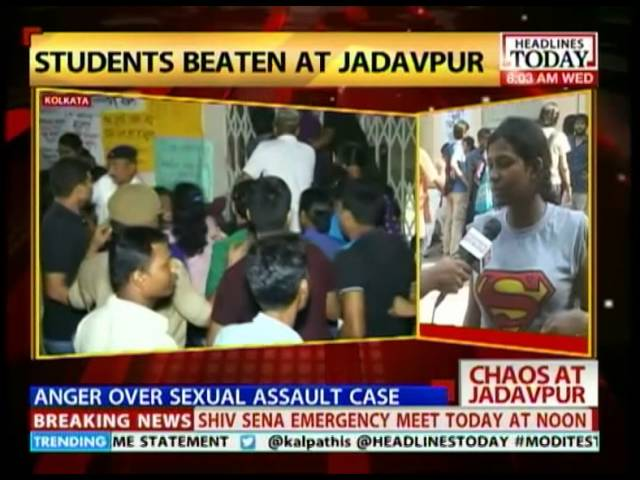 Footage from Jadavpur University where cops lathi charges students