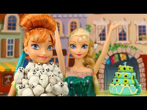 Frozen Fiebre Congelada Muñecos de Nieve Attackan a Anna en su Cumpleaños con Elsa y Kristoff.