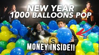 POPPING 1000 BALLOONS ON NEW YEAR! (Money Inside!) | Ranz and Niana
