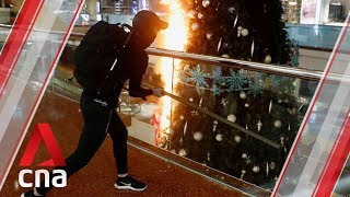 Hong Kong protesters set fire to Christmas tree in Festival Walk mall