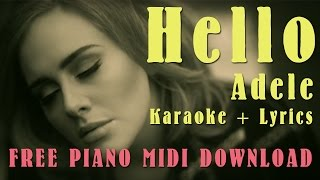 download lagu Hello - Adele Karaoke +  Free Mp3/midi Download gratis