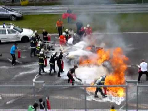 Horrible crash Brno || Lamborghini Gallardo LP 560-4 BURNS ||