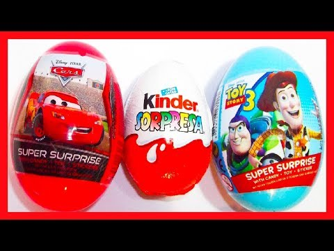 3 HUEVOS SORPRESA. . TOY STORY 3. CARS DE  disney. KINDER LOS PITUFOS 2. unboxing. OEUF SURPRISE
