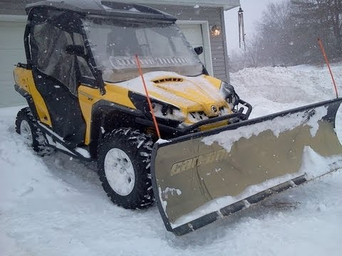 Plowing Snow With Can-Am Commander 1000 - Winter Storm Nemo -  Maine Blizzard 2013