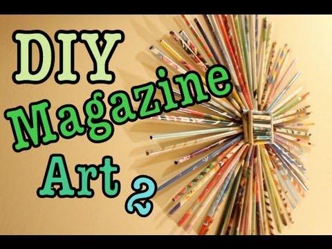 diy magazine art 2 sunburst recycle magazines youtube. Black Bedroom Furniture Sets. Home Design Ideas