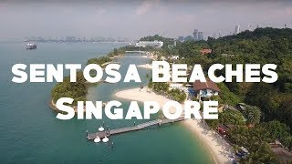 (Drone 4K) The Three Beaches of Sentosa Island, Singapore