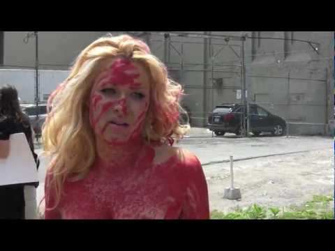 PETA s human meat tray protest at Toronto s Quality Meat Packers  pig slaughterhouse