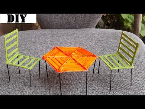 Popsicle Stick Chairs and Table | Easy and Quick Craft Tutorial