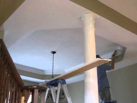 Toronto cornice Crown Molding Trimwork Installation on a coffered ceiling.avi