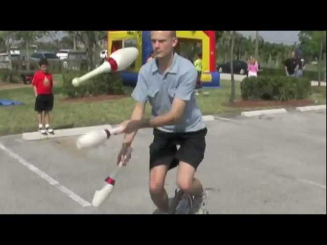 Juggling Pins While Unicycling