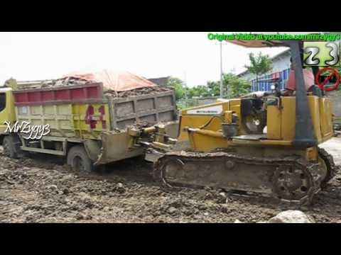 Dump Truck Mitsubishi Stuck And Push Out Twice By Mitsubishi Dozer