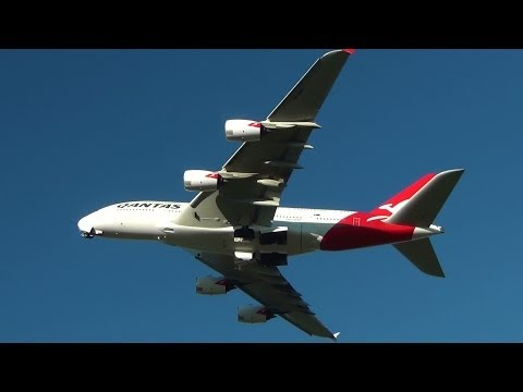 Qantas Airlines A380-800 I takeoff Sydney International Airport HD