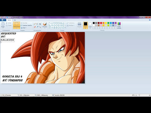 drawing Gogeta ssj4 in paint requested by Galaxi92- dibujando a gogeta ssj4 en paint