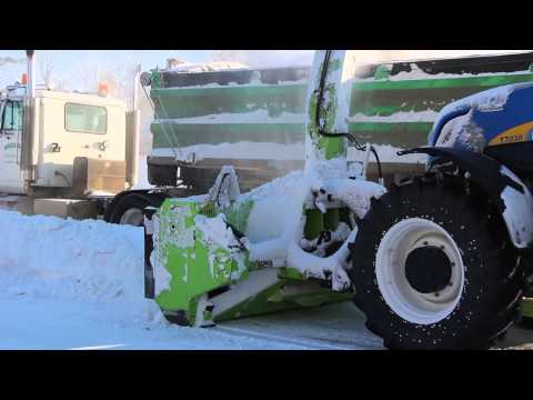 Schulte SDX-110 Snow Blower loading truck from snow windrows Humboldt, SK. Dec 6/12