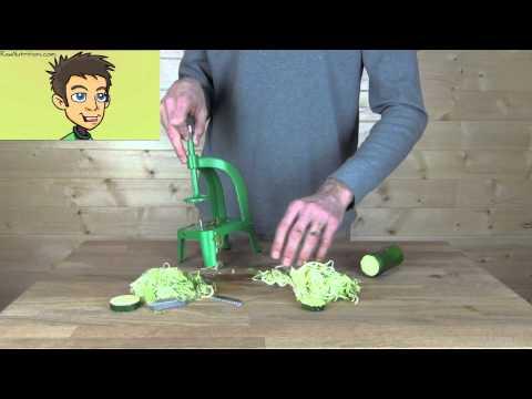 Benriner Cook Help Pro Spiral Slicer Model P22402 Demonstration in the Raw Nutrition Kitchen