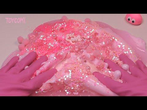 핑크색 재료로만 슬라임 만들기 🐷[핑크색만 입장가능!] Only pink slime ㅣ DIY One color slime
