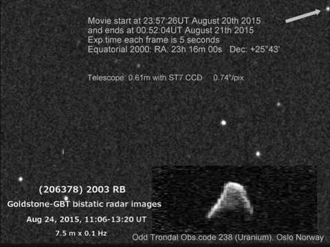 Asteroid 2003 RB + Goldstone Radar image.