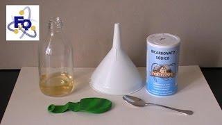 Inflar un globo con vinagre y bicarbonato