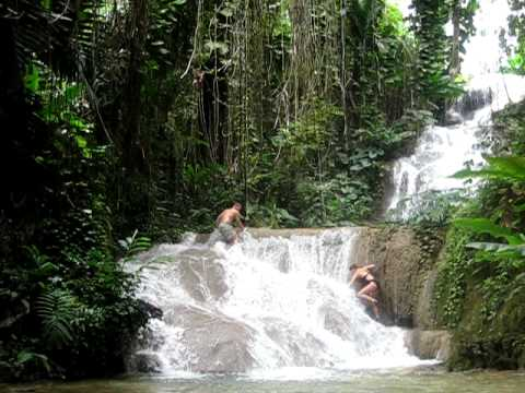 climbing waterfalls at the enchanted garden ocho rios