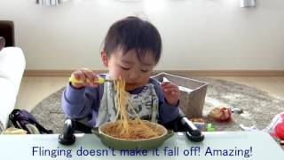 Cute Japanese toddler successfully eats pasta with new Edison fork!
