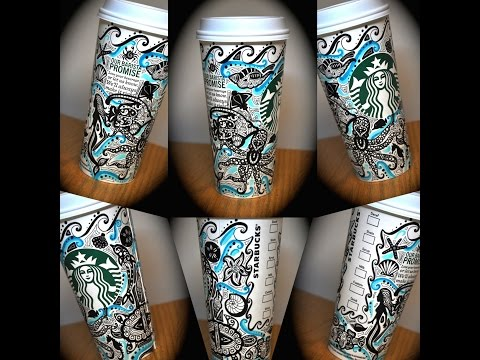 Drawing on my Starbucks Cup: Under The Sea Edition