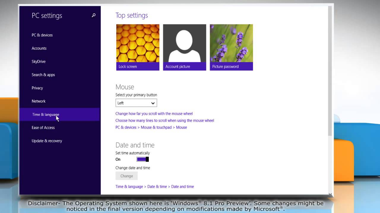 how to change time in windows 8
