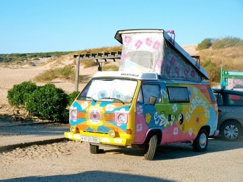 SexyFrugoSurfer, Surfing and Kitesurfing amazing trip to Tarifa VW T3 split Westfalia Hippie Camper
