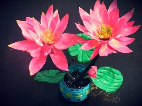 Recycled DIY: How to make LOTUS flowers with waste water bottles?