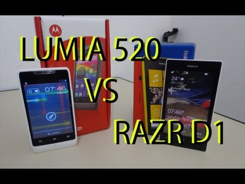 Nokia Lumia 520 Windows Phone 8 vs Motorola Razr D1 Android 4.1 Português!