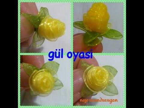 Organze Kurdele oyaları& TOMURCUKLU KATLAMALI GÜL &Forex flower,health flower, summer flower