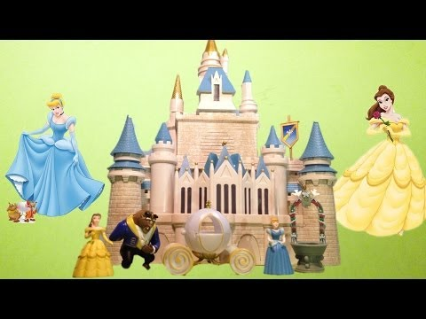 CINDERELLA CASTLE Play Set Walt Disney World Toy Playset with Cinderella + Belle
